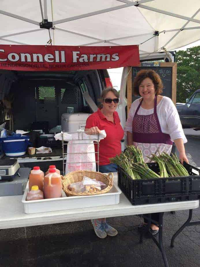 Buying local asparagus from McConnell Farms.