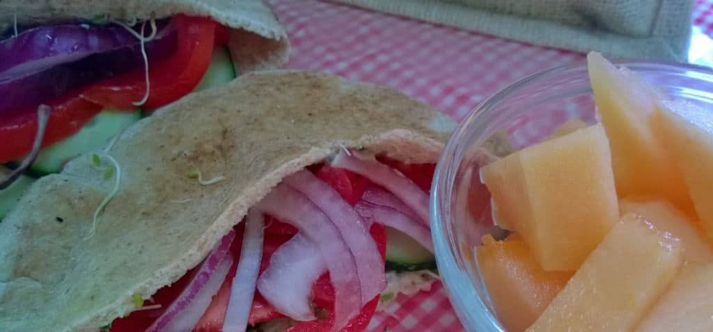 Hummus Sandwich with local melon.