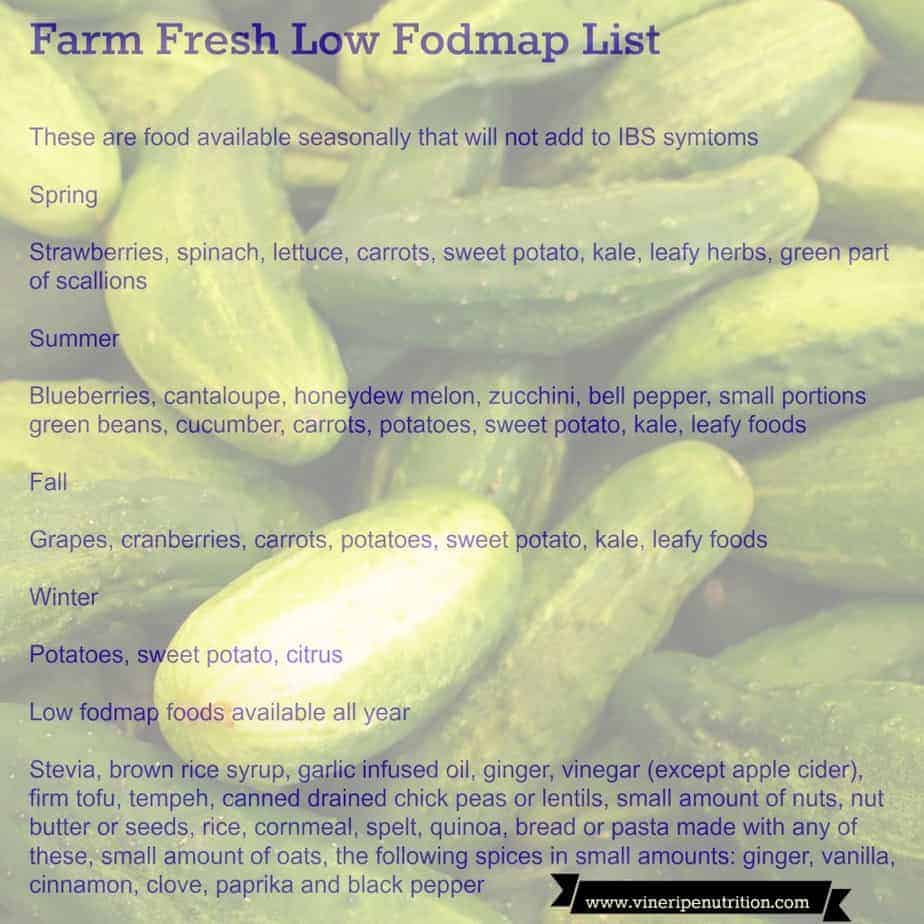 farm fresh low fodmap list