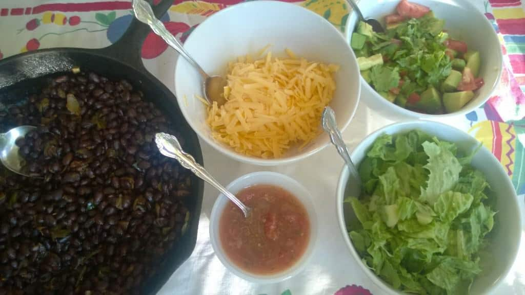 Here are the ingredients ready to make bean tacos!