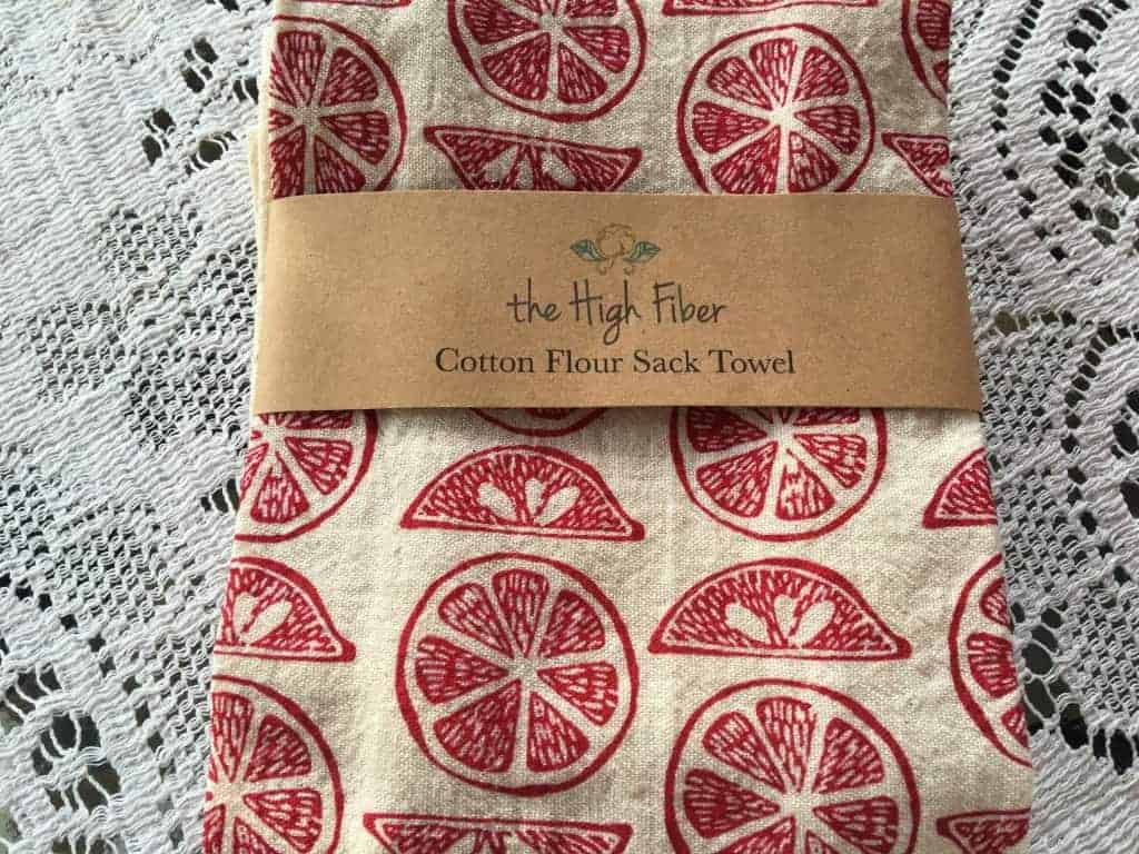 A hand created silk screen design linen from The High Fiber is a gift for everyone's kitchen!