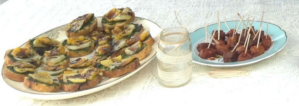 Little toasts with seasonal roasted vegetables makes an elegant appetizer.