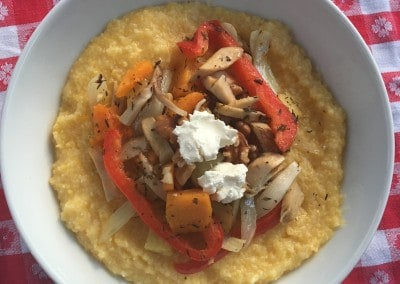Roasted Mushroom Potato, Squash and Pepper Over Grits