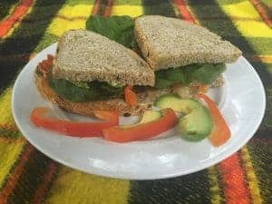 Roasted Vegetable, Spinach & Avocado Sandwich