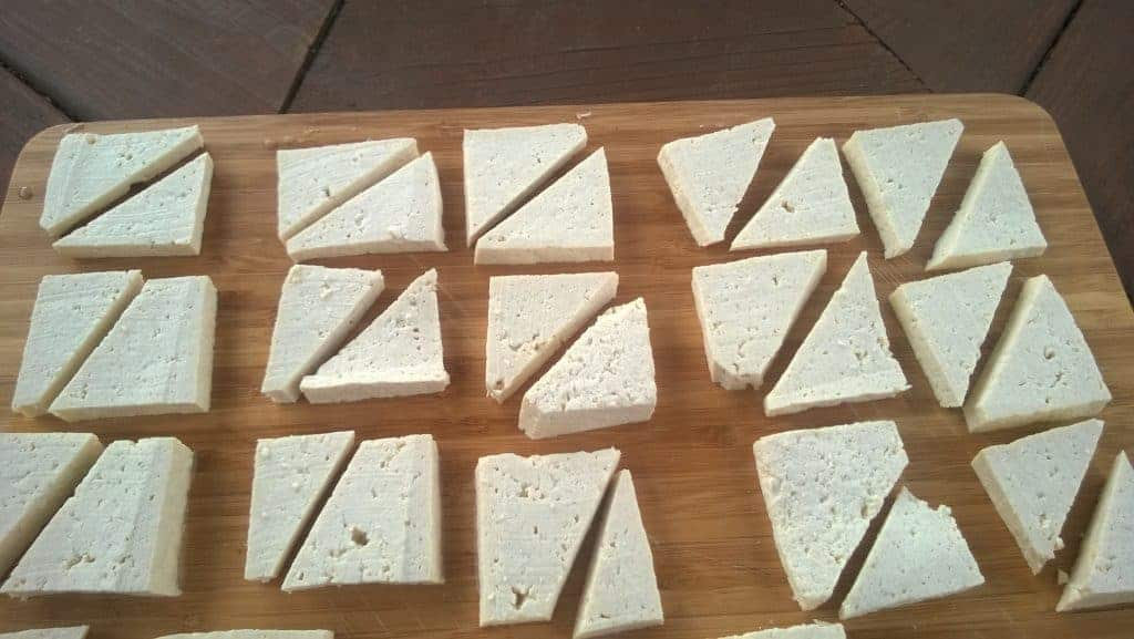 Pressed, sliced tofu