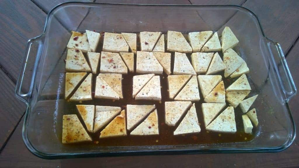 Marinating Tofu on Baking Sheet
