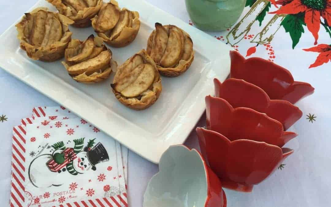 Trimming the Holiday Table with Mini Apple Filo Tarts