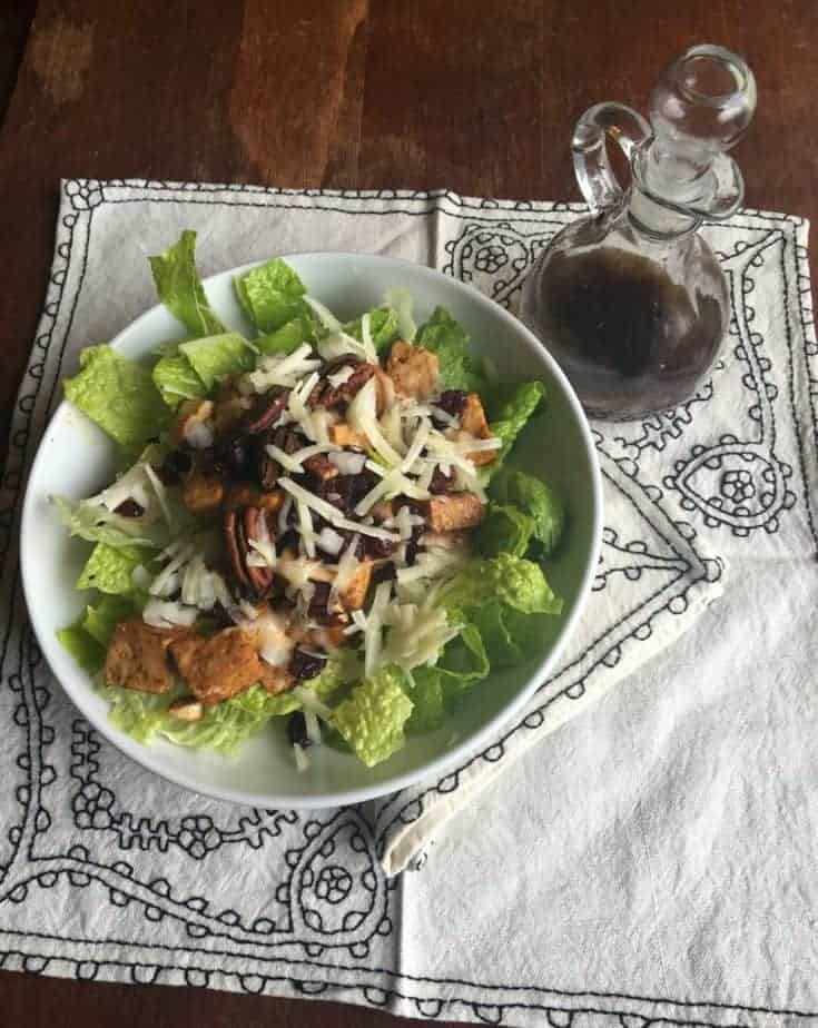 Marinated Tofu, Cherry, Pecan and Green Salad