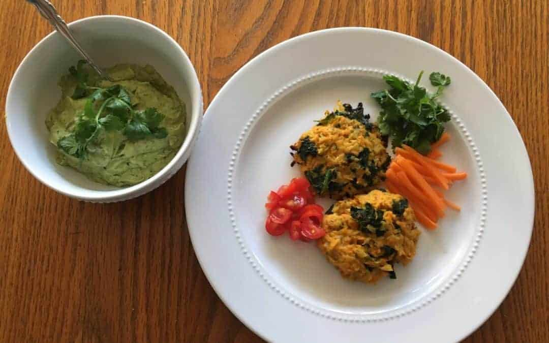 Avocado Tahini with Cauliflower, Sweet Potato & Kale Cakes