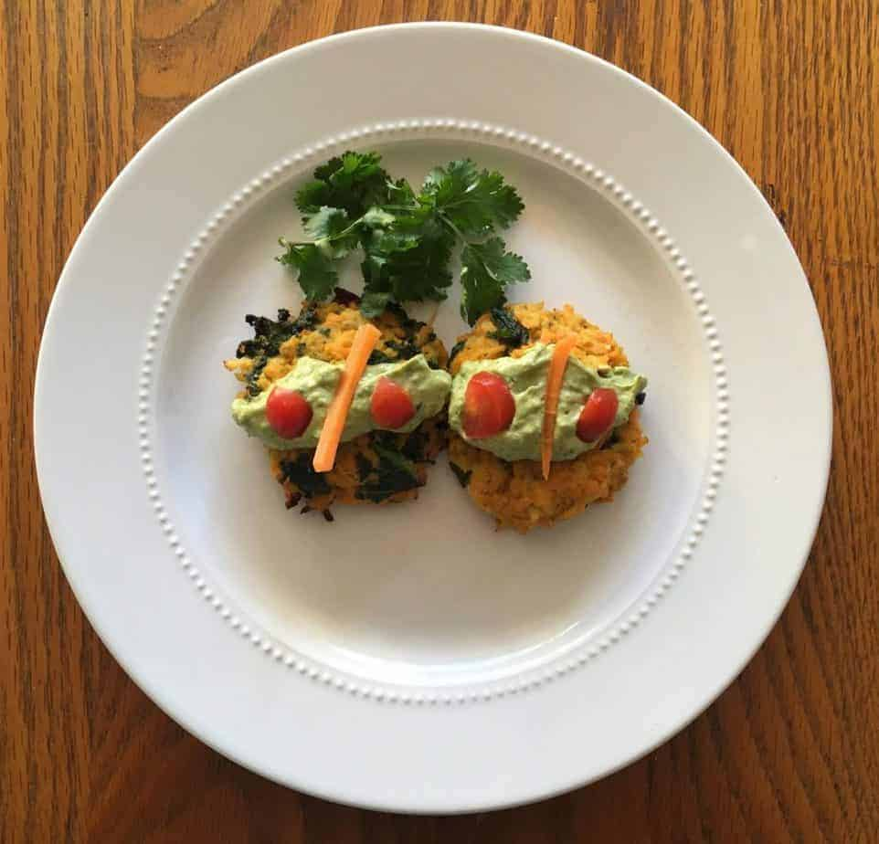 Avocado Tahini with Cauliflower, Sweet Potato Kale Cakes