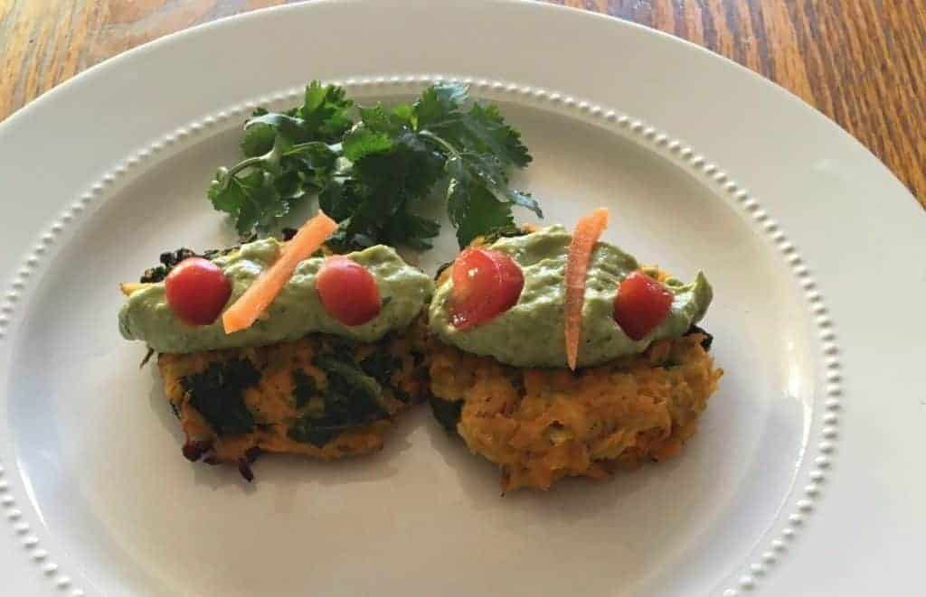 Avocado Tahini with Cauliflower, Sweet Potato, Kale Cakes