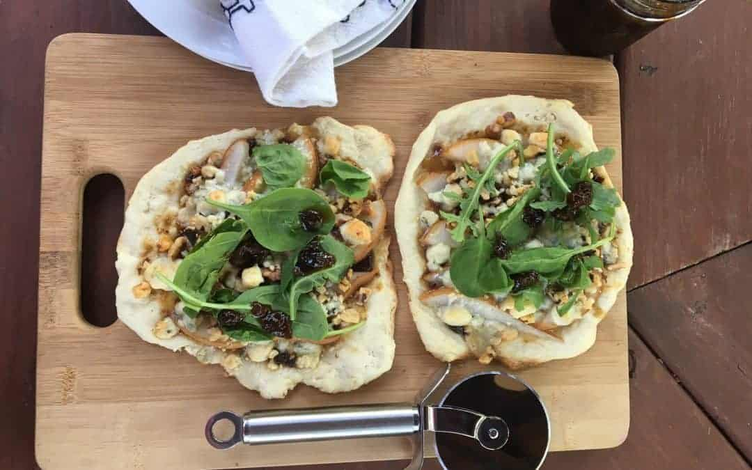 Pear Arugula Pizza with Blue Cheese & Walnuts