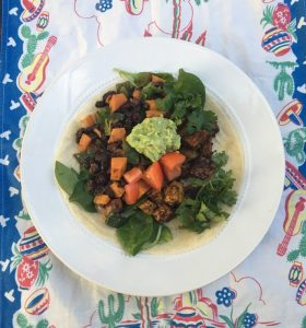 Black Bean Burrito with Tempeh Sweet Potatoes and Spinach