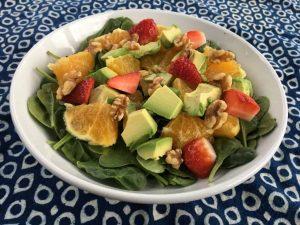 Orange, Avocado, Strawberry, Walnut & Spinach Salad