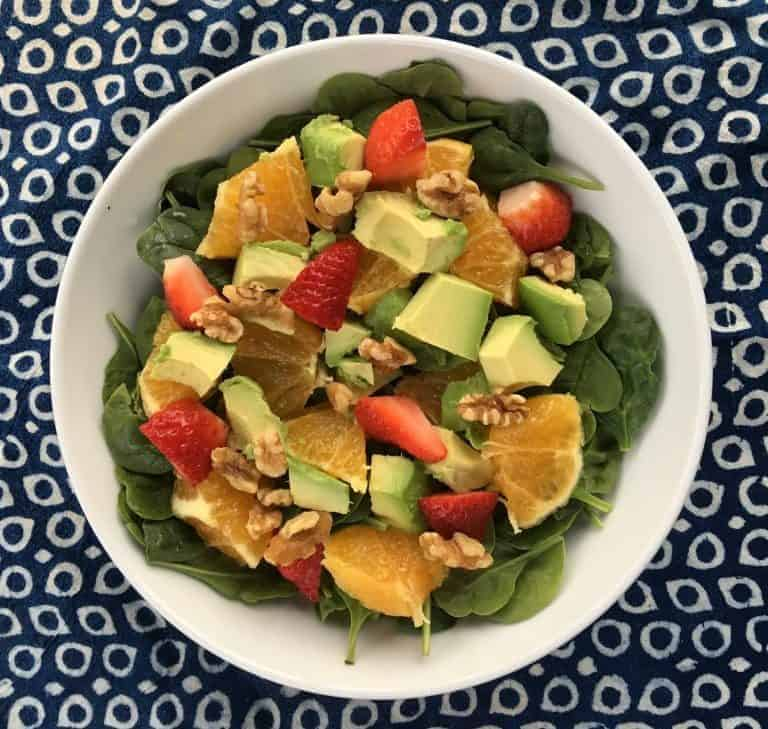 Orange, Avocado, Strawberry, Walnut and Spinach Salad